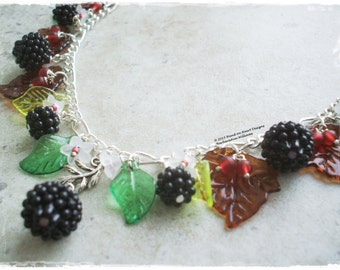 Blackberry necklace, Flowers and Berries necklace, Hedgerow necklace, Autumn necklace, Fall necklace