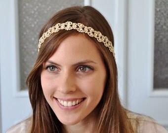 WEDDING GOLD HEADBAND, Wedding Headpiece , Gold Rhinestone Tiara