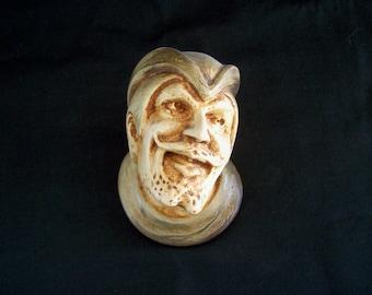 Chalkware Match Holder Man's Face Circa late 1800s