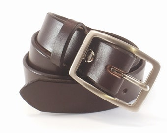 "Dress Belt Dark Brown - Bridle Leather - 100 Year Belt - Full Grain Leather - 1.25"" -Lifetime Guarantee - Amish made"
