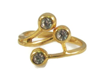 Three Stone and Gold Tone Ring - Size 6.5