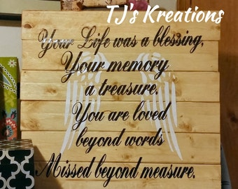 Your Life was a blessing your memory a treasure you are loved beyond words