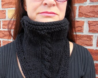 Black hand knitted cable cowl, black knit cowl,