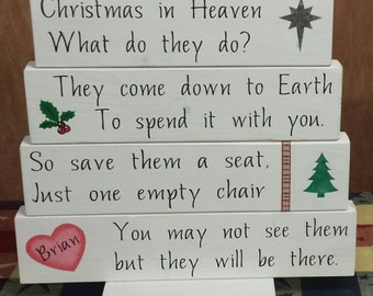 Christmas in Heaven What do they do?, Christmas Block Set, Christmas Table Decor, Personalized, In Memory Of, Christmas Quotes, Angels