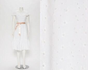 white cotton eyelet dress vintage 1970s • Revival Vintage Boutique