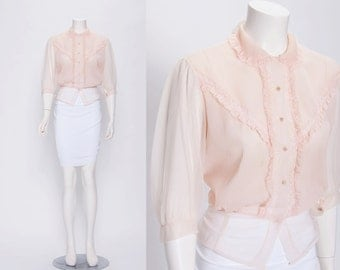 sheer blush pleated blouse vintage 1930s • Revival Vintage Boutique