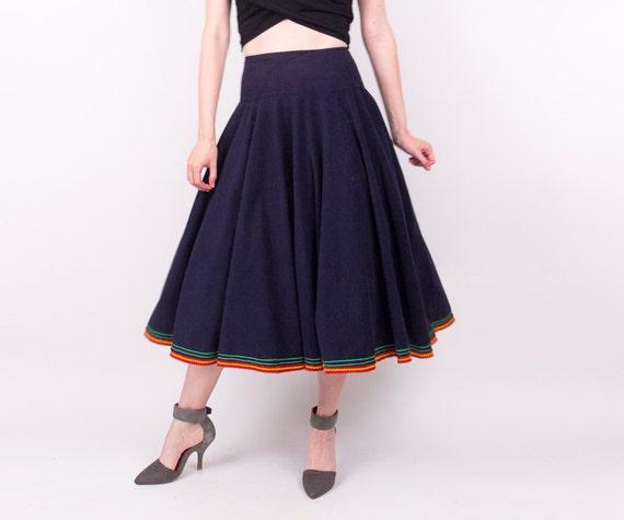 50 s navy blue circle skirt mexican pleated drop waist