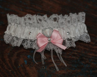 Brides Wedding Garter - With Hand Made Bow - Baby Pink Wedding Garter (All Colours Available)