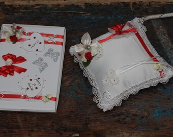 Wedding Set - Red Guestbook & Ring Cushion - Hand Decorated - Wedding Guestbook / Ring Bearer Cushion - All Colours Available