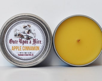 Apple Cinnamon Beeswax Candle Tin | 4 oz. Candle | Natural | Travel Tin | Container Candle | Scented