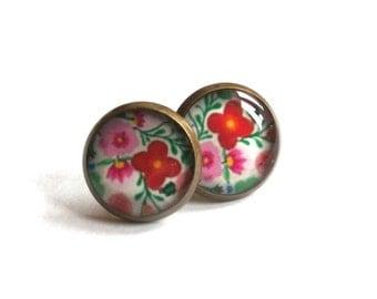 COLORFUL FLORAL EARRINGS - stud earrings - Flower stud earrings - cabochon earrings -12mm earrings - Vintage Earrings