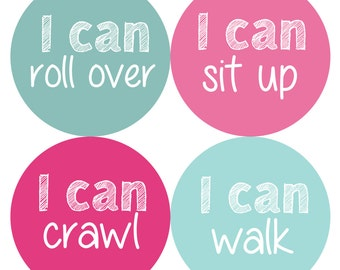 Baby Month Milestone Stickers, Milestone Stickers, Baby Shower Gift - Baby Girl, Baby Shower Gift, Pink, Teal MILESTONE SET