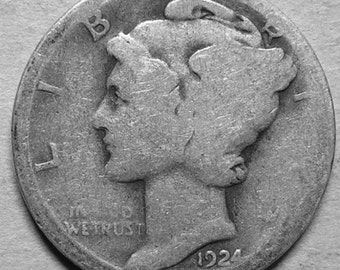 1924 D Mercury Dime Silver  #2684, Hard to Find Coin