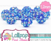 12mm ROYAL BLUE AB Rhinestone Beads Bumpy Beads Resin Bling Pavé Beads Dark Blue Berry Beads Sparkly Bubblegum Beads Bubble Gum Beads