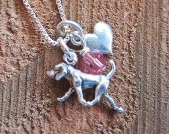 Retriever Mini Heart Sterling Silver Necklace