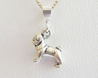 Pug Mini Pendant Charm and Necklace