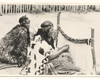 Maori Weavers, New Zealand Photo Postcard, c. 1910
