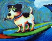 "Art Print, Jack Russell Terrier, Dog Print, Whimsical Dog Art 4.5"" x 6.5"" Print of original painting ""JR"" by John Donato"