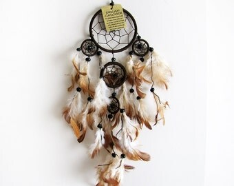 Free Fast Shipping/Native American Legend/Brown Dream Catcher/Five Circles-One Oversize and Four Little Circle /Indian Symbols-4 size