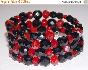 40%OFF Black Czech Glass and Red Crystal Bracelet