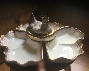 JUST REDUCED Vintage Lazy Susan Chicken Pottery/Condiment Dish