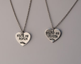 You're My Person Hand-stamped Heart Necklace Set