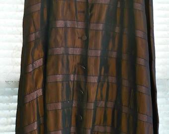 Brown Taffeta Skirt Vintage 1950's Lovely Pattern