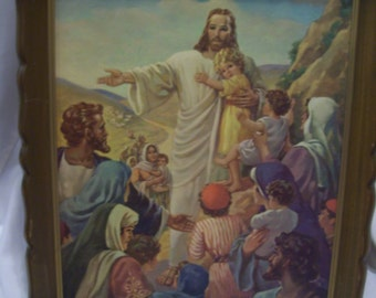 Large Jesus The Children's Friend, Warner Sallman 1947, Kriebel and Bates,Lithograph
