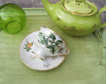 Vintage Lily of Valley Iridescent Teacup and Saucer Pearlized Footed