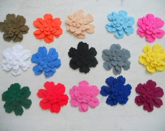 60pcs Die Cut felt Flowers in 4 different shapes,choose from  color chart.15sets--Party suplies-Thick felt ornament-DIY Kits.