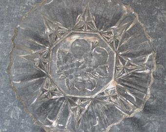 Vintage Cut Crystal Cut Glass Bowl, Trinket Dish, Candy Dish, Dining Décor