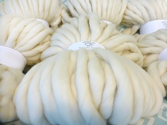 "Super Chunky Yarn, Giant Yarn, Super- THICK Yarn, ""Smoosh Yarn"", Extreme Hand Spun yarn"