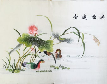 Vintage Chinese Embroidery : Mandarin Ducks and Lotus Pond