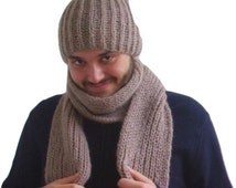 For Him, Light Brown Hat and Scarf Set, Cap, Men, Long Scarf, Hand Knit, Ready to Ship, Express Cargo