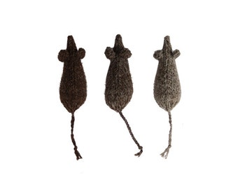 The Natural Mouse Trio - Gift Set of Three Natural British Wool Mouse Toys for Cats - Stylish Wool Toys for Cats in Dark Tones.