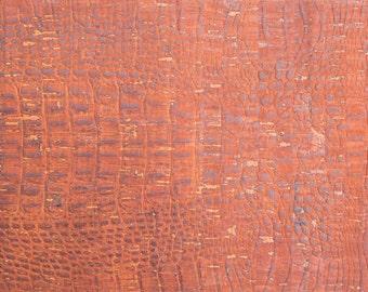 Natural Cork Fabric - Croco Brown