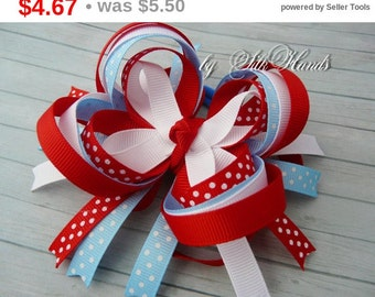 Back to school Sale Boutique Hair Bow - red. blue. white