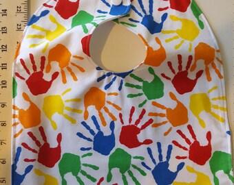 Infant/toddler waterproof bibs - Handprints- Large