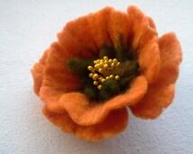 Felt Brooch Flower, Wool Jewelry, Orange Green Flower, Felt Flower Pin, Wool Brooch, Gift for her, Handmade