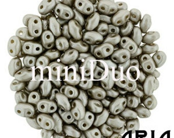 PASTEL COCOA: MiniDuo Two-Hole Czech Glass Seed Beads, 2x4mm (5 grams)