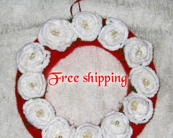 Straw wreath, White flowers wreath, Home decoration, Wreath, Door wreath with knitted flowers, Hand knit wreth