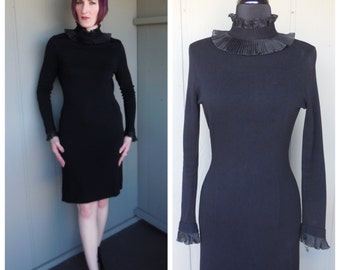 Edwardian Style 1970's Black Pleated Ruffled High Neck Collar and Cuffs Wiggle Dress - size Medium