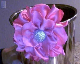 Pink silk flower on alligator clip