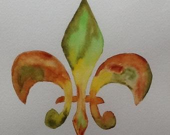 Fleur de lis print - green