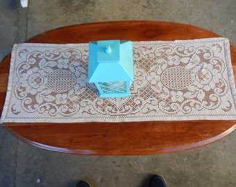 Table Runner Crocheted Lace Dresser Scarf 40 X 14 Ecru and Tan