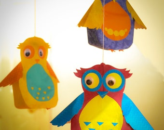 Owl Lanterns, owl mobile hanging gift, 3D mobile Decor, 3D Paper Lantern, nursery decor, room decor, own decor, Night Light,