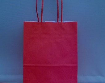 Cherry Red paper twisted handeled party bags x 10 with 20 sheets tissue paper