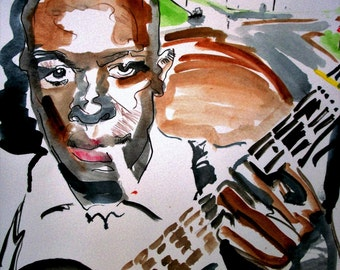 Robert Johnson Blues Watercolor Ink Portrait Illustration Bluesman Crossroads Watercolor Wall Decor VitoArt Limited Edition Poster Print