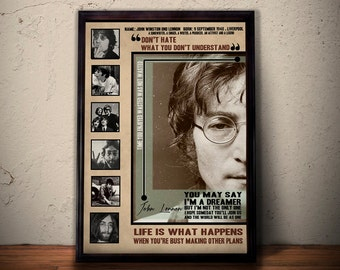 JOHN LENNON Poster, John Lennon Imagine Song Lyric Art, John Lennon Print, Imagine Lyrics Vintage Wall Art Print *** A1 A2 A3 A4 Size