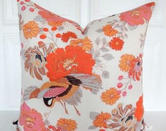 Bird Pillow Cover - Decorative Pillow - 18x18, 20x20, Lumbar - Burnt Orange - Pink - Throw Pillow - Tropical - Linen - Floral